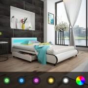 vidaXL Легло от бяла изкуствена кожа с LED облегалка и две чекмеджета,140 см