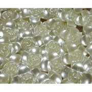 Utkarsh (Pack Of 500 Gram) 25mm White Shell Flower Pearl Beads For Jewellery Beading Decorations Arts And Craftworks