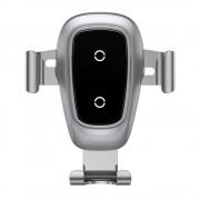 Baseus fém gravitációs vezeték nélküli töltő Autós tartó Phone Bracket Air Vent Holder Qi töltő (WXYL-B0S) ezüst