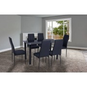 Glass Dining Table w/ 6 Chairs - 3 Colours!
