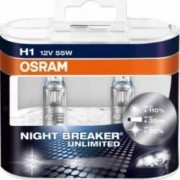 Set 2 becuri auto Osram H1 12V 55W P14.5s Night Breaker Unlimited