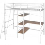 vidaXL Cama alta com mesa de metal 200x90 cm branco e castanho