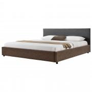 MyBed Cama tapizada 140x200cm gris/marrón cuero sintético cama doble - Aizarnazabal