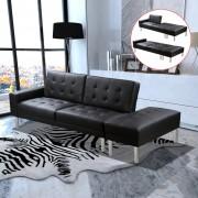 vidaXL Разтегателен диван, черен, изкуствена кожа