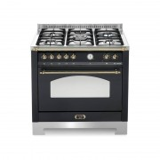 Lofra Rnmg96mft/ci Nero Matt 90x60 Cucina Con Piano In Acciaio Satinato - 5 Fuochi A Gas Di Cui 1 Tripla Corona - Forno Gigante
