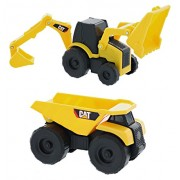 CAT Mini Machine Caterpillar Construction Truck Toy Cars Set of 2, Dump Truck and Backhoe Free-Wheeling Vehicles...