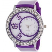 Glory Purple Diamond Fancy Letest Butterfly Print Collection Analog Watch - For Women by japan store