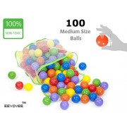 EEVOVEE 100 pcs Color Balls for Kids / Pool Balls Genuine Quality Set of 100 Balls - 6 cm Diameter Similar Size of Tennis Ball