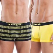 Papi [2 Pack] Cotton Stretch Striped Brazilian Trunk Underwear Black/Yellow 984502-973