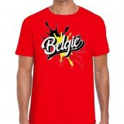 Bellatio Decorations Belgie t-shirt spetter rood voor heren