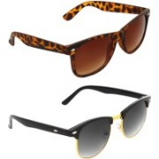 Zyaden Wayfarer, Clubmaster Sunglasses(Brown, Green)