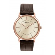 Bulova Mens Classic Ultra-Slim Brown Leather Strap Watch 40mm BROWN