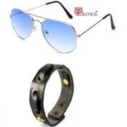 Ediotics Classic Blue Aviator Sunglasses with Trendy Mens Fancy Bracelet (Code - Ediotics0009MB4)