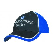 Headwear Professional Six Panel Heavy Brushed Cotton Cap With Piping Tri Colour 4175
