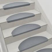 Комплект от 15 броя самозалепващи се килими (стелки) за стълби[en.casa]®, 280 g/m² , Полукръг, Сив