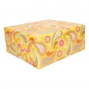 Shoppartners Inpakpapier/cadeaupapier geel paisley print 200 x 70 cm op rol