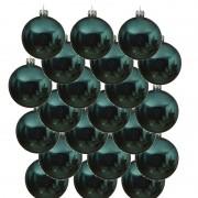 Bellatio Decorations 18x Turquoise blauwe glazen kerstballen 8 cm glans