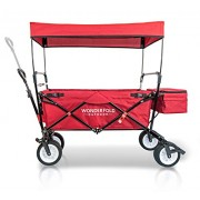 Everyday Sports Wonder Fold Outdoor 2017 Upgraded New Generation Collapsible Folding Wagon with Canopy, Auto Safety Locks, Spring Bounce, One Pedal Brake, Stand, Eva Wide Tire, Ruby Red