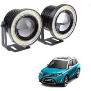 Auto Addict 3.5 High Power Led Projector Fog Light Cob with White Angel Eye Ring 15W Set of 2 For Maruti Suzuki Vitara Brezza