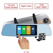 Camera Auto Oglinda Full HD cu touchscreen SM 502CM + MicroSD 16Gb, CAR Triple