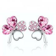 Rózsaszín kristályos szerencse fülbevaló