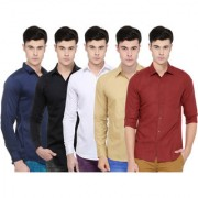 Black Bee Solid Regular Fit Poly-Cotton Shirts For Men Set of 5
