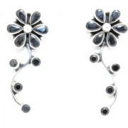 Women Earrings Designer Floral 925 Sterling Silver Natural Black Onyx Gem Stones