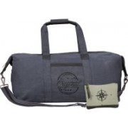 NEUDIS Genuine Leather & Recycled Stone Washed Canvas Duffle Bag for Gym & Travel - Original Gym Bag(Blue)