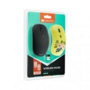 Мишка Canyon CND-CMSW400R, оптична(1600 dpi), безжична, USB, черна и жълт