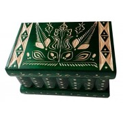 Big wooden magic mystery puzzle box secret tricky storage beautiful special handcarved jewelry box case (Green)