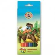 Комплект цветни моливи Koh-i-Noor Птици, 12 цвята, 2200036