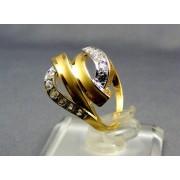 Zlatý dámsky prsteň moderný žlté biele zlato kamienky VP53315V