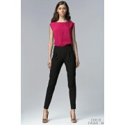 Black High Waist Tailored Pants with Slit Ankle Cuffs