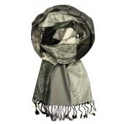 Damaskus Dark - elegantní šála pašmína LZ11 šedá