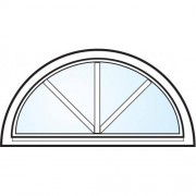 Dörrtema Fönster 3-glas energi argon halvmåne med spröjs vitmålat Modul 14x7