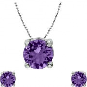 Mahi with Crystal Elements Violet Classic Solitaire Rhodium Plated Pendant Set for Women NL1104142RVio