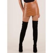 CheapChic Hoop-la Ringed Cut-out Miniskirt Cognac