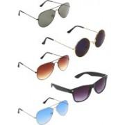 Zyaden Aviator, Aviator, Aviator, Wayfarer, Round Sunglasses(Green, Brown, Blue, Blue, Black)