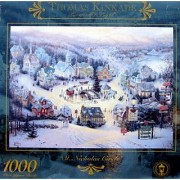 New 1000pc Thomas Kinkade St. Nicholas Circle Puzzle Top Popular Stocking Stuffer Last Minute Present Idea Unisex Him Her Girl Teen Boy Daughter Son Brother Sister Unique Unexpensive Creative Toy Game