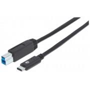 Cavo USB 3.1 Gen2 B Maschio / USB-C Maschio 1m Nero