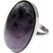Inel argint reglabil masiv cu ametist chevron 25x18 MM GlamBazaar Reglabila cu Ametist Mov tip inel reglabil de argint 925 cu pietre