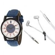 Laurex Zipper Earphones and man watch combo- LX-010-EP-003