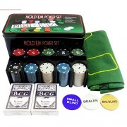 Param Hold 'EM Up Poker Playing 200 Chips Set - Casino Games with Playing Cards and Layout Mat