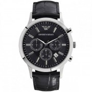 Armani orologi in pelle nera Mens Chronograph Watch Ar2447