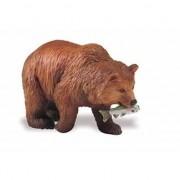 Safari LTD Plastic speelgoed figuur grizzlybeer 8 cm met zalm
