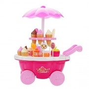 Indusbay Ice Cream Trolley Kitchen Play Cart Kitchen Set Toy with Sweets Candies and Ice Creams Lights and Music Toy -Small