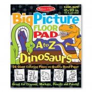 Bloc gigant de colorat cu litere si dinozauri Melissa Doug