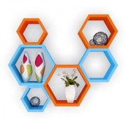 Santosha Decor Hexagon Shape Floating Wall Shelves For Living Room(Special Metallic Paint- (Orange Sky Blue Set of 6 )