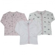 Krivi Kids Pink White Color Set of 3 Front Open Full Sleeve Cotton Top For Baby Boys And Baby Girls .(6-9 Months)
