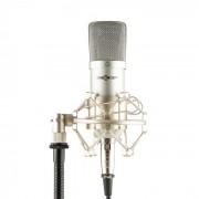 Mic-700 Microfone de Estúdio Ø34mm Uni Aranha Filtro Anti Pop XLR Prateado